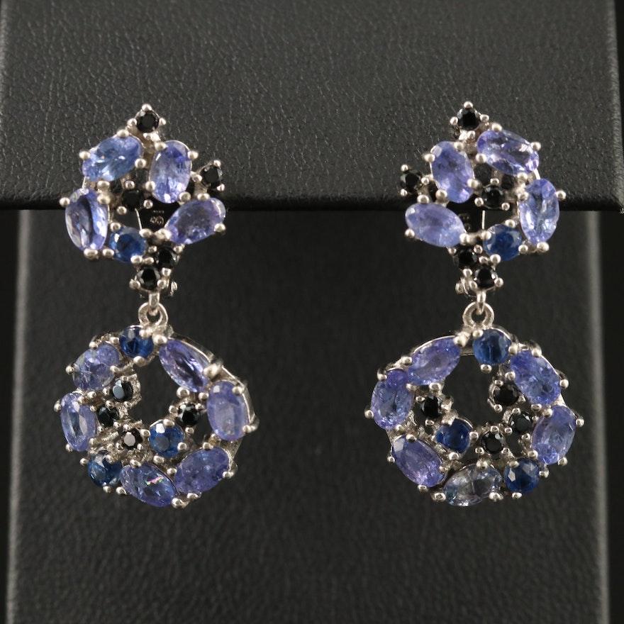 Sterling Silver Tanzanite, Kyanite and Black Spinel Dangle Earrings