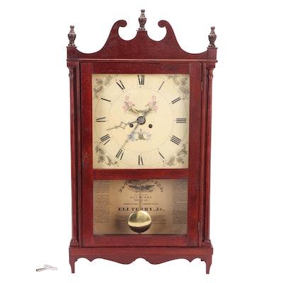Eli Terry Jr. Mahogany Pillar and Scroll Shelf Clock, 19th Century