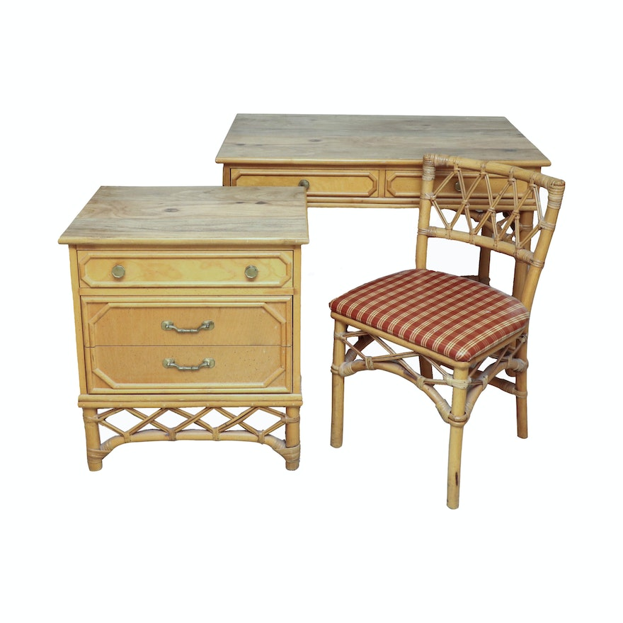 Bamboo and Wicker Desk, Chair and Nightstand, Late 20th Century