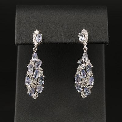 Sterling Tanzanite and Cubic Zirconia Drop Earrings