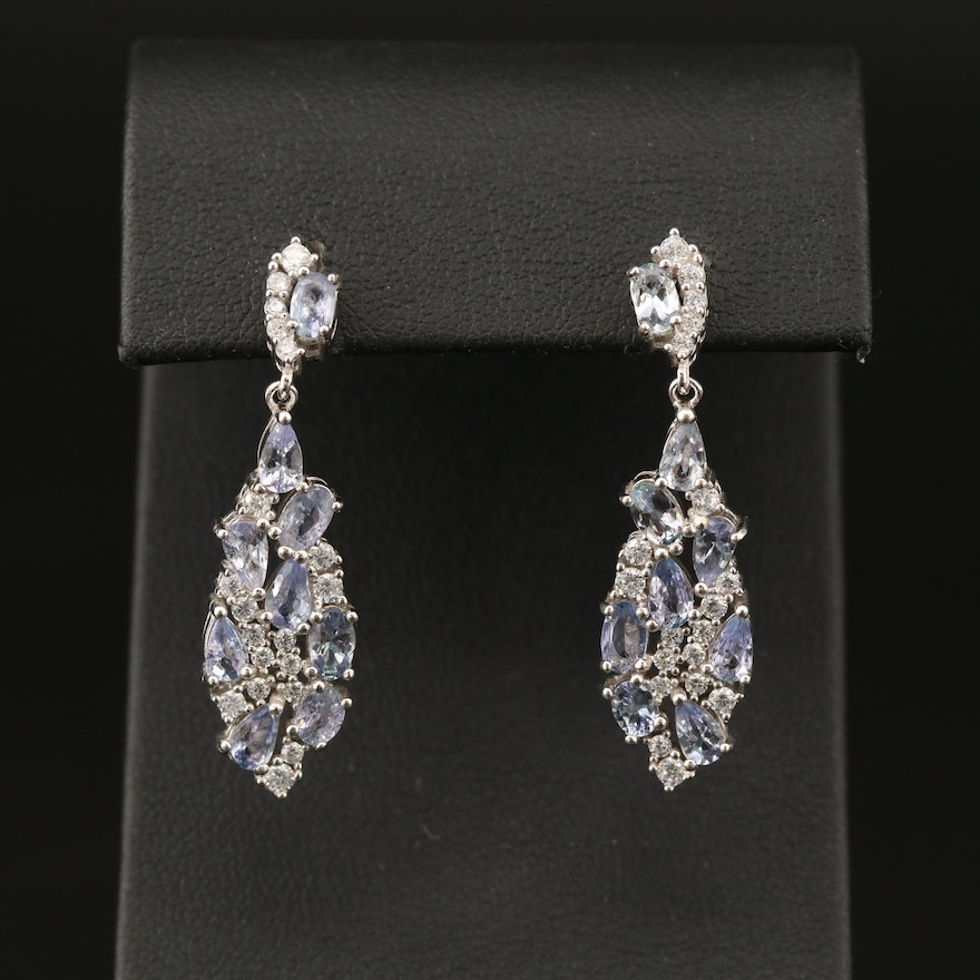 Sterling Tanzanite and Cubic Zirconia Drop Earrings