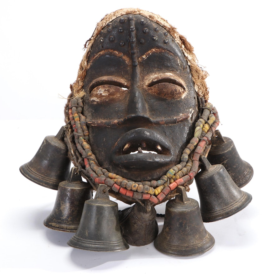 Dan-Guere Hand-Carved Wood Mask with Embellishments, West Africa