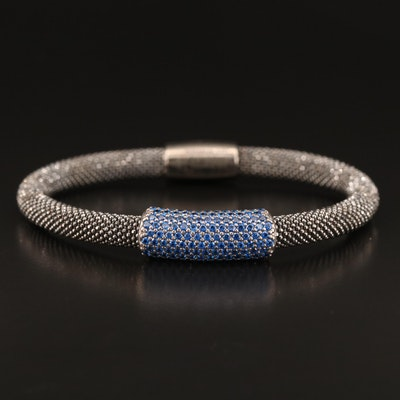 Sterling Silver Spinel Mesh Bracelet