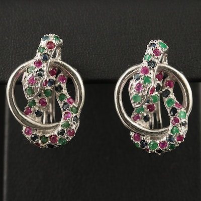 Sterling Silver Sapphire, Ruby and Emerald Snake Earrings