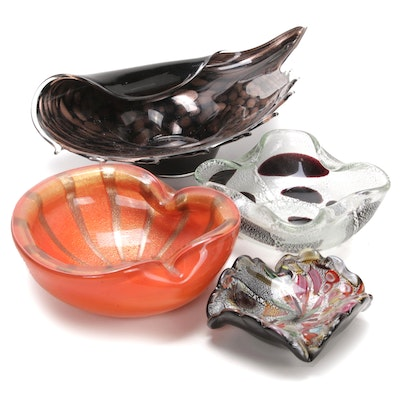 Venetian Avventurina Glass Centerpieces and Folded Ashtrays, Mid to Late 20th C