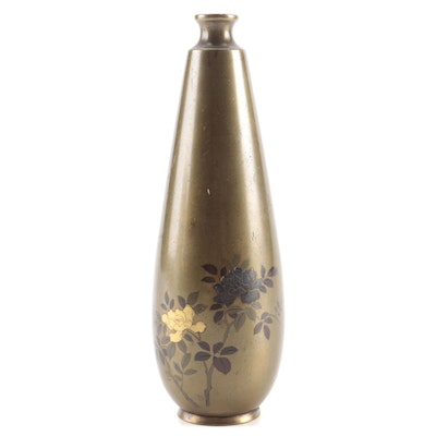Japanese Brass Bud Vase with Mixed Metal Inlay