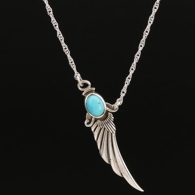 Sterling Bezel Set Turquoise Wing Necklace