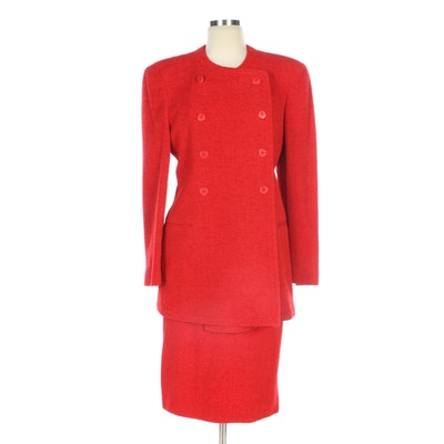 Giorgio Armani Red Woolen Skirt Suit