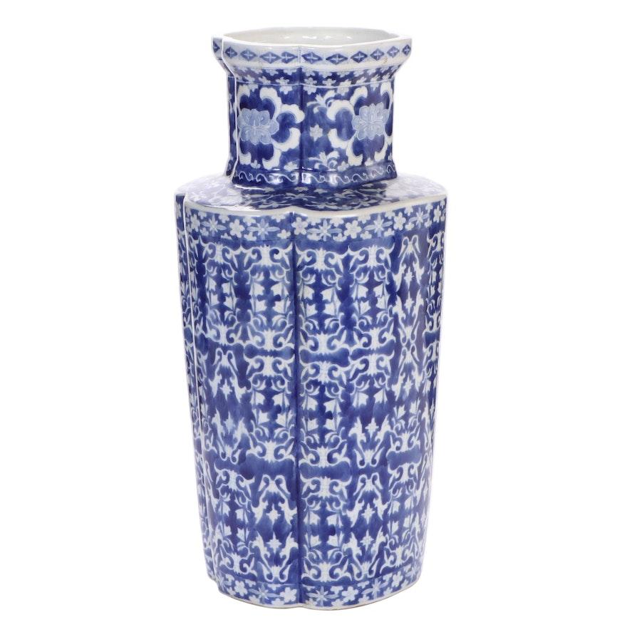Chinese Blue and White Porcelain Floor Vase