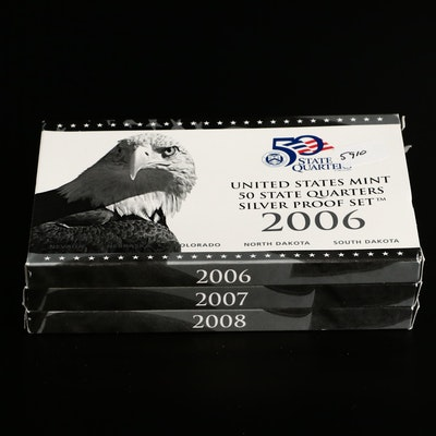 Three Silver Proof Commemorative State Quarter Sets