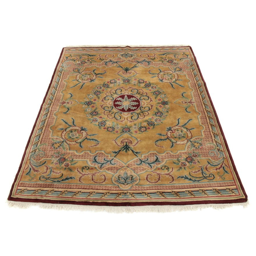 7'10 x 10'1 Hand-Knotted Indo-French Aubusson Style Wool Rug