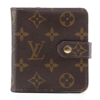 Louis Vuitton Compact Zip Bifold Wallet in Monogram Canvas with Box