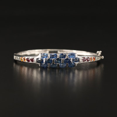 Sterling Sapphire Hinged Bangle