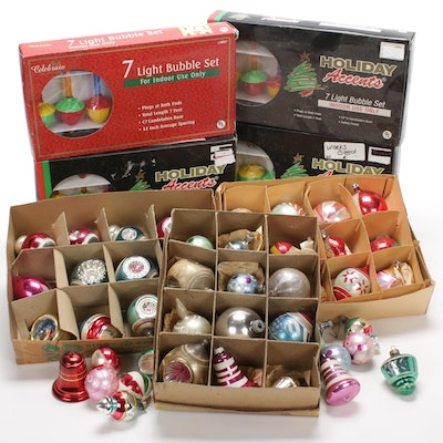 Shiny Bright Glass Ornaments and Bubble Light Sets, Mid to Late 20th Century