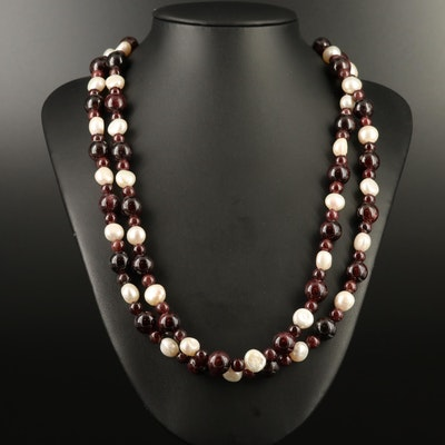 Pearl and Garnet Double Strand Necklace with Sterling Clasp and Accent Beads