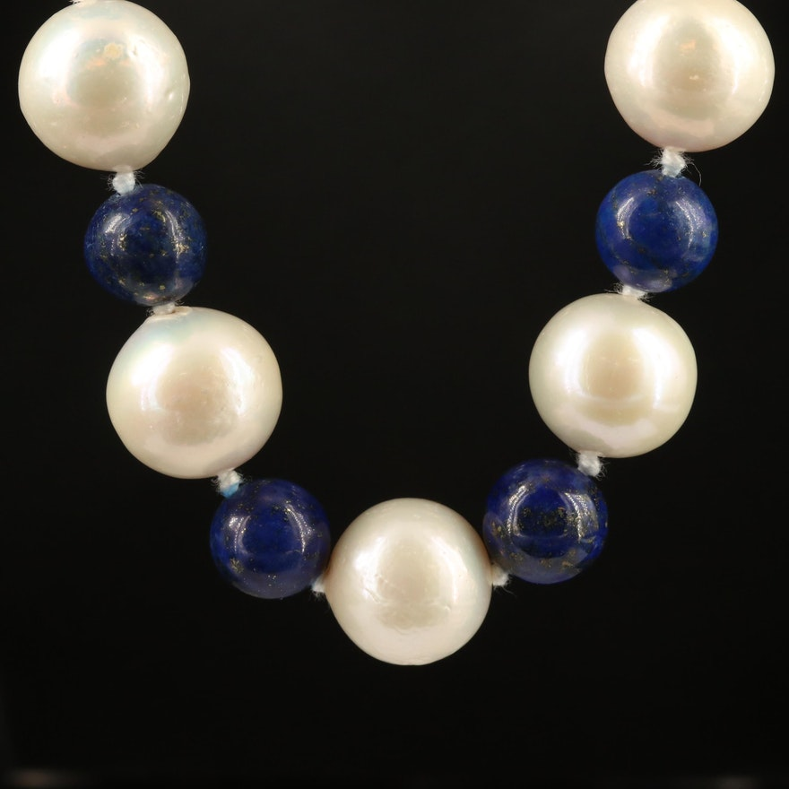 Knotted Pearl and Lapis Lazuli Bead Necklace with Sterling Silver Clasp