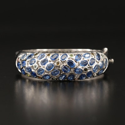 Sterling Kyanite and Citrine Hinged Bangle