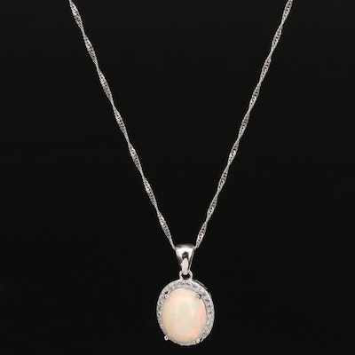 Sterling Opal and Cubic Zirconia Halo Pendant Necklace