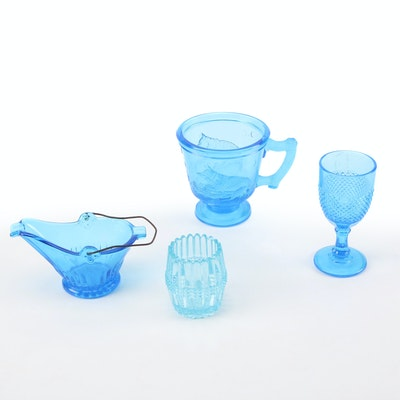 EAPG Child's Mug, and Other Blue Pressed Glass, Early to Mid 20th C