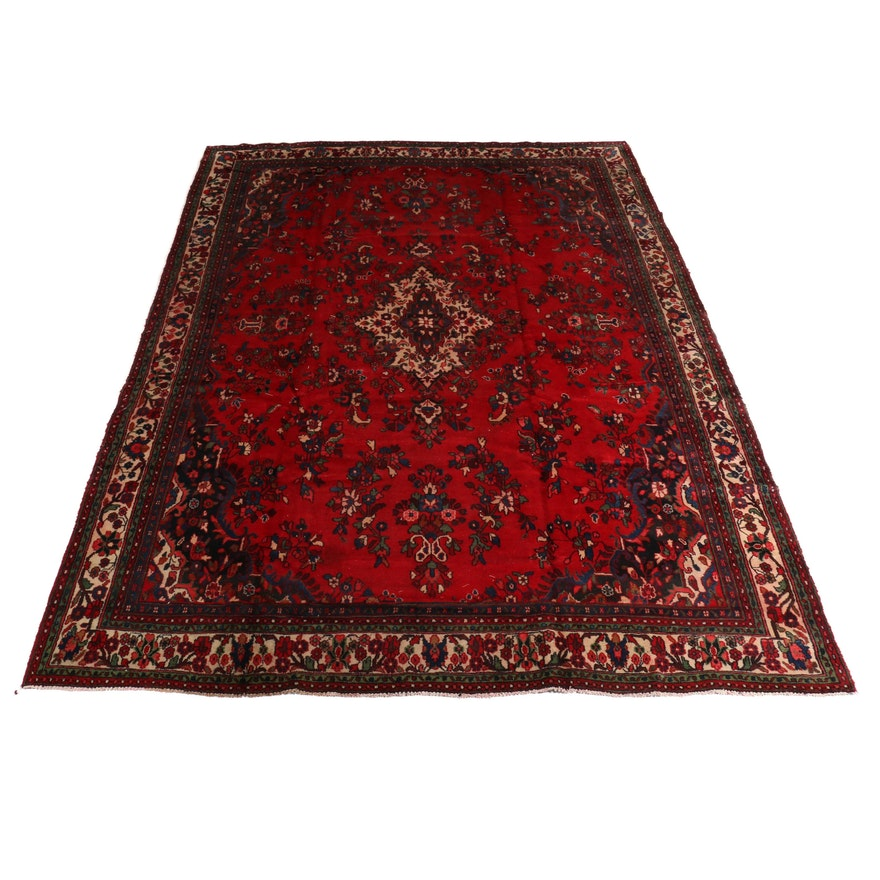 10'1 x 14'2 Hand-Knotted Persian Mahal Room Size Wool Rug, 1970s