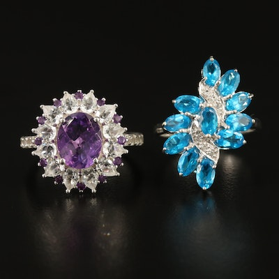 Sterling Silver Rings with Amethyst, Topaz, Apatite and White Topaz