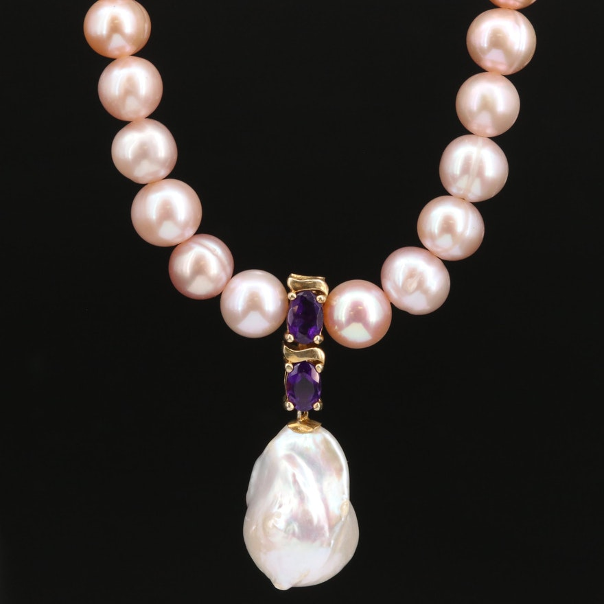 Pearl and Amethyst Strand Necklace with Sterling Clasp and Accent