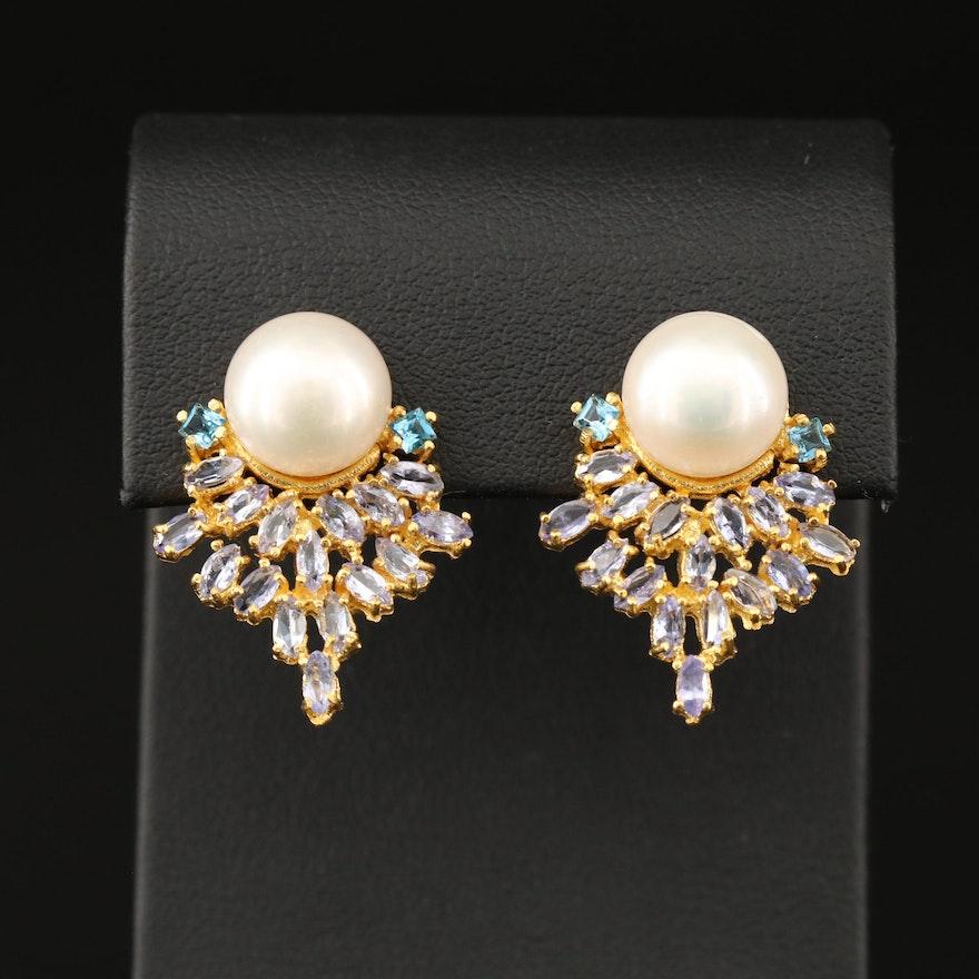 Sterling Silver Pearl, Tanzanite and Topaz Drop Earrings