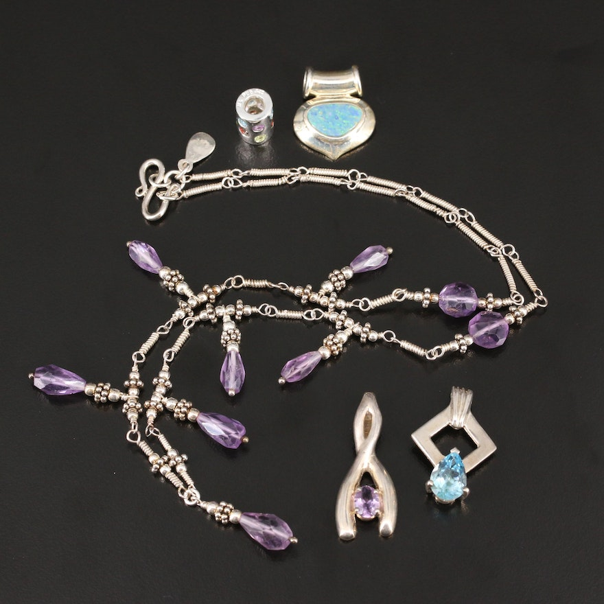Sterling Necklace, Pendants and Charm with Topaz, Opal and Amethyst