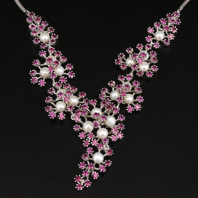 Sterling Silver Pearl and Rhodolite Garnet Floral Cluster Necklace