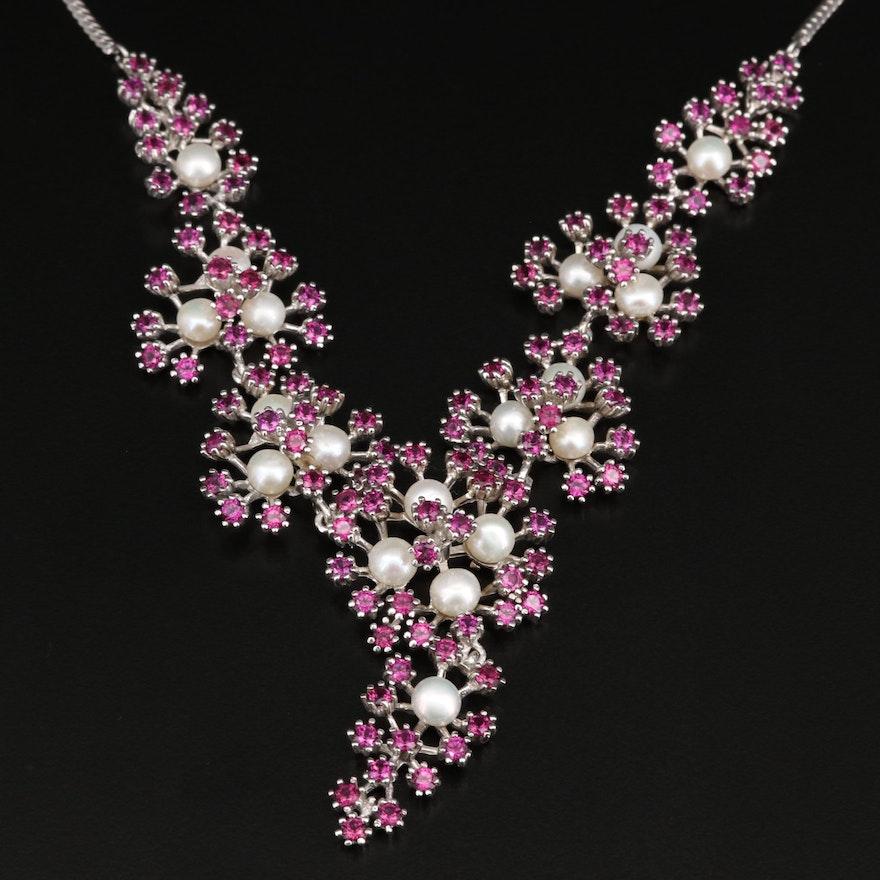Sterling Silver Pearl and Rhodolite Garnet Floral Cluster Necklace