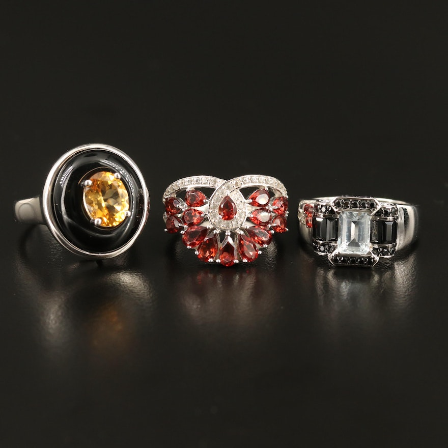 Sterling Silver Ring Selection Featuring Citrine, Black Onyx and Garnet Accents
