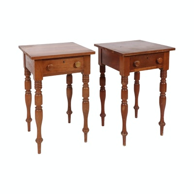 Cherry One Drawer Side Tables with Turned Wood Legs, Early to Mid 20th Century