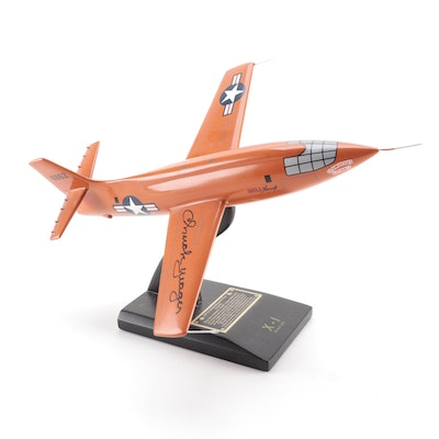 "Chuck Yeager Signed ""X-1 Rocket Research"" Scale 1/32 Model Plane, COA"