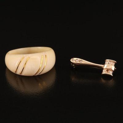 Vintage 10K Judge's Gavel Pin and Ridged Ring