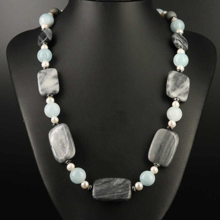 Aquamarine, Pearl and Marble Necklace with Sterling Clasp
