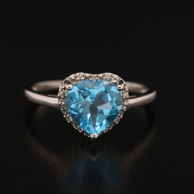 10K Topaz and Diamond Heart Ring