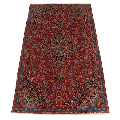4'6 x 7'11 Hand-Knotted Persian Kashan Wool Area Rug