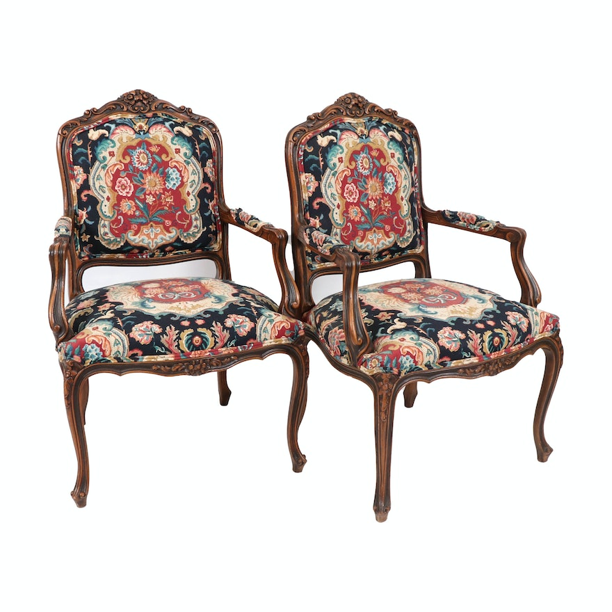 Rococo Style Upholstered Carved Wood Armchairs, 20th Century