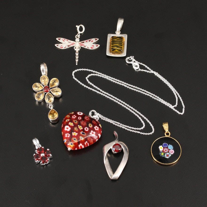 Sterling Silver Pendants and Necklace Featuring Millefiori Glass
