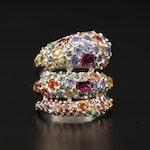 Sterling Silver Pavé Rhodolite Garnet, Tanzanite and Sapphire Spiral Ring
