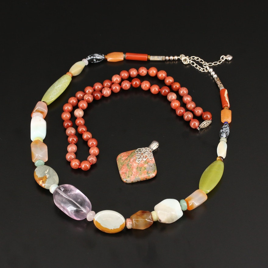 Desert Rose Trading Necklace, Knotted Necklace and Enhancer Pendant