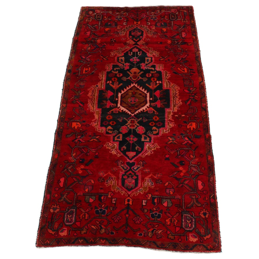 4' x 8'5 Hand-Knotted Persian Hamadan Wool Wide Runner Rug, 1970s