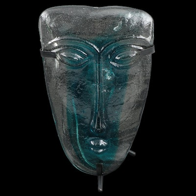 Blown Glass Face Mask Attributed to Gabriel and Rodolfo Lio Jaramillo with Stand
