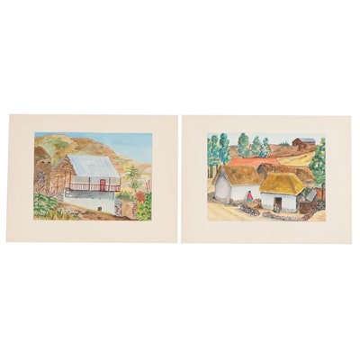 Bolivian Mountain Village Watercolor Paintings, 1955