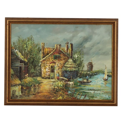 European Style Landscape Impasto Oil Painting, Mid-20th Century