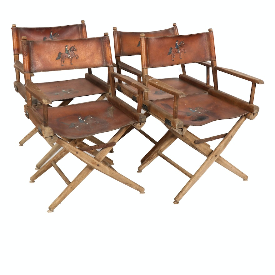 Fold Up Leather Director's Chairs with Saddlebred Show Scene Pyrography, 1970s