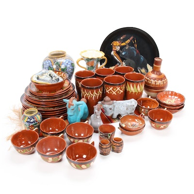 Mexican Hand-Painted Art Pottery, Figurines, and Dinnerware, Mid to Late 20th C.