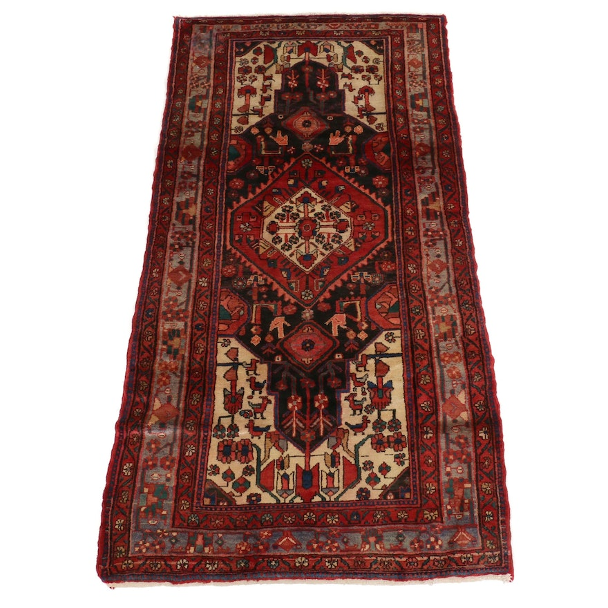 4'5 x 8'11 Hand-Knotted Persian Hamadan Wool Wide Runner Rug