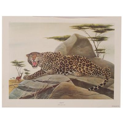 """John A. Ruthven Offset Lithograph """"Leopard,"""" 1975"""