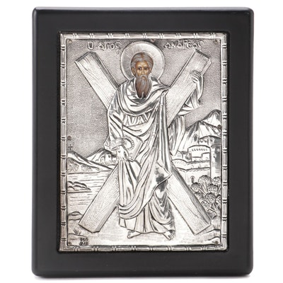 Greek Orthodox Hand-Painted Icon with 950 Silver Riza